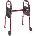 Drive Medical Design Deluxe Folding Travel Walker with Wheels and Fold Up Legs: Flame Red Crossbar with Red Frame, Adult, 5""