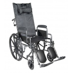 Drive Medical Design Single Axle Silver Sport Full Reclining Wheelchair: Silver Vein, Detachable Desk Arm, Swing-Away, Elevating Leg Rests, Detachable Desk Arm, 18""