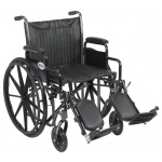 Drive Medical Design Dual Axle Silver Sport 2 Wheelchair: Silver Vein, Detachable Desk Arm, Swing-Away Elevating Leg Rests, 20""