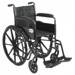 Drive Medical Design Dual Axle Silver Sport 2 Wheelchair: Silver Vein, Fixed Arm, Swing-Away Footrests, 16""