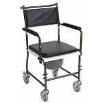 Drive Medical Design Portable Upholstered Commode with Wheels and Drop-Arm: Folding, Assembled, Silver Vein