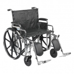 Drive Medical Design Dual Cross Brace Bariatric Sentra Extra Heavy Duty Wheelchair: Detachable Desk Arm,Swing-Away, Elevating Leg Rests, 24""