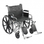 Drive Medical Design Bariatric Sentra EC Heavy-Duty Wheelchair with Dual Cross Brace: Detachable Desk Arm, Elevating Leg Rests,22""