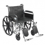 Drive Medical Design Bariatric Sentra EC Heavy-Duty Wheelchair with Dual Cross Brace: Detachable Full Arm, Elevating Leg Rests,22""