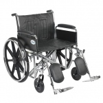 Drive Medical Design Bariatric Sentra EC Heavy-Duty Wheelchair with Dual Cross Brace: Detachable Full Arm, Elevating Leg Rests, 24""