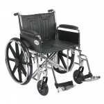 Drive Medical Design Bariatric Sentra EC Heavy-Duty Wheelchair with Dual Cross Brace: Detachable Full Arm, Swing-Away Footrests,22""