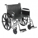 Drive Medical Design Bariatric Sentra EC Heavy-Duty Wheelchair with Dual Cross Brace: Detachable Full Arm, Swing Away Footrests, 24""