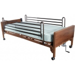 "Drive Medical Design Semi-Electric Bed with Full-Length Side Rails and 80"" Foam Mattress: Single Crank"