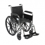 Drive Medical Design Dual Axle Chrome Sport Wheelchair: Detachable Full Arm, Swing Away Footrests, 16""