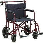 "Drive Medical Design Bariatric Aluminum Transport Chair: Red, 22"" Seat Width, 12"" Rear Flat-Free Wheels"