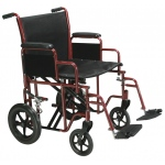 Drive Medical Design Bariatric Steel Transport Wheelchair with Swing Away Footrest: Red, 20""