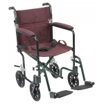 Drive Medical Design Deluxe Fly Weight Aluminum Transport Wheelchair: Green Frame and Burgundy Upholstery, 19""