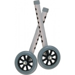 Drive Medical Design Walker Wheels with Two Sets of Rear Glides: Silver Tubing, Gray Tire and Silencer, 5""