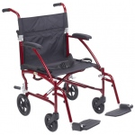 Drive Medical Design Fly Lite Ultra Lightweight Aluminum Transport Wheelchair: Burgundy Frame and Black Upholstery, 19""