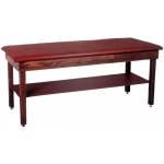 "wooden treatment table - H-brace, shelf, upholstered, 72"" L x 24"" W x 30"" H"
