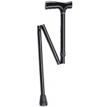 "Folding aluminum cane, 33 - 37"", black, 1 each"