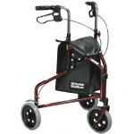 3-wheel Rollator with loop brake, red, 1 each