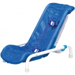 Articulating bath chair with safety harness, medium to 130 lb.