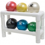 CanDo® WaTE™ Ball - Hand-held Size - 6-piece set (1 each: tan, yellow, red, green, blue, black), with 2-tier rack
