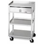 Fabrication Enterprises Mobile Stand: Stainless Steel, 2-Shelf with Drawer