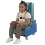Tumble Forms® 2-Piece Mobile Floor Sitter - Seat and Wood Base - medium - blue