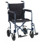Drive Medical Design Deluxe Fly Weight Aluminum Transport Wheelchair: Blue Frame and Black Upholstery, 19""