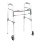 "Drive Medical Design Two Button Folding Universal Walker with Wheels: 5"", Adult/Junior"