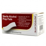 Advocate Sterile Alcohol Prep Pads: Pack of 100