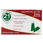 Advocate Safety Lancets: 21G x 2.4mm, Pack of 200
