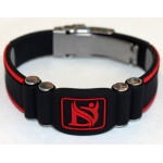 Dr-Ion Negative Ion Wristband with Clasp: Black/Red