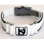 Dr-Ion Negative Ion Wristband with Clasp: White/Black, XS, 6.3""