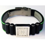 Dr-Ion Negative Ion Wristband with Clasp & Square Swarovski Head: Black/Green