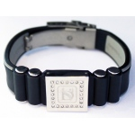 Dr-Ion Negative Ion Wristband with Clasp & Square Swarovski Head: Black/Grey, M, 7.5""