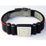 Dr-Ion Negative Ion Wristband with Clasp & Square Swarovski Head: Black/Red