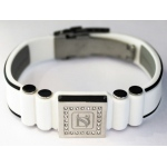 Dr-Ion Negative Ion Wristband with Clasp & Square Swarovski Head: White/Black