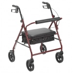 "Drive Medical Bariatric Rollator with 8"" Wheels, Red"