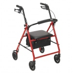 "Drive Medical Rollator with 6"" Wheels, Red"