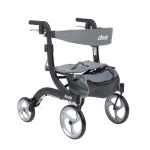 Drive Medical Nitro Euro Style Walker Rollator, Hemi Height, Black