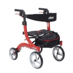 Drive Medical Nitro Euro Style Walker Rollator, Hemi Height, Red