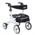 Drive Medical Nitro Euro Style Walker Rollator, Hemi Height, White