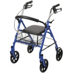 Drive Medical Four Wheel Walker Rollator with Fold Up Removable Back Support, Blue