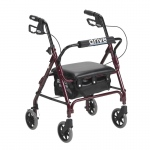 Drive Medical Junior Rollator with Padded Seat, Red