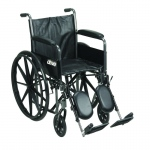 "Drive Medical Silver Sport 2 Wheelchair, Detachable Full Arms, Elevating Leg Rests, 18"" Seat"