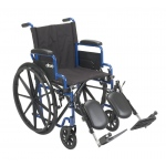 "Drive Medical Blue Streak Wheelchair with Flip Back Desk Arms, Elevating Leg Rests, 16"" Seat"