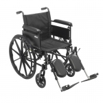 "Drive Medical Cruiser X4 Lightweight Dual Axle Wheelchair with Adjustable Detachable Arms, Full Arms, Elevating Leg Rests, 16"" Seat"