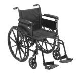 "Drive Medical Cruiser X4 Lightweight Dual Axle Wheelchair with Adjustable Detachable Arms, Full Arms, Swing Away Footrests, 20"" Seat"