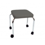 "Mobile stool, no back, square top, 18"" H, gray upholstery"