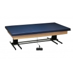 "wooden platform table - deluxe electric hi-low, upholstered, 8' x 6' x (23"" - 32"")"