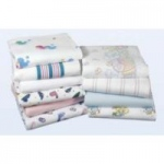 "Medline Baby Blankets, White with Blue Striped Borders, 30"" x 40"", 72/cs"