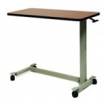 "Lumex Automatic Over Bed Table w/ Medium Oak Top, Low base, Low Rise 21""-32"", Grey"